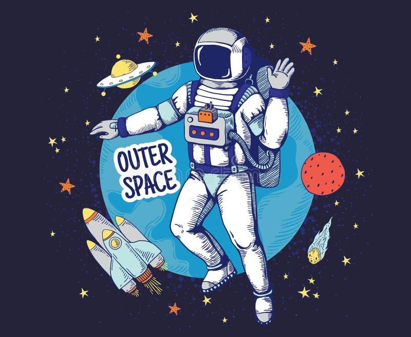 Krabbelastronaut Speelt de hand getrokken ruimtejongensaffiche, planeet ruimtevoorwerpen, de elementen van het astronomiebeeldver stock illustratie