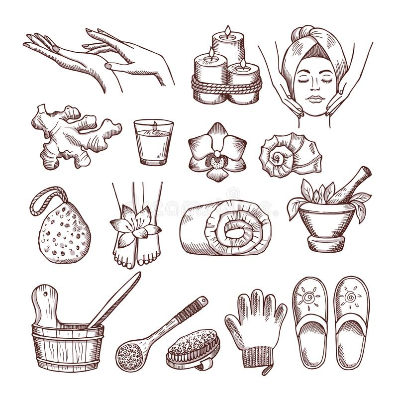 Krabbelbeelden voor het ontspannen of massage spa salon worden geplaatst die Aromatherapyillustraties royalty-vrije illustratie