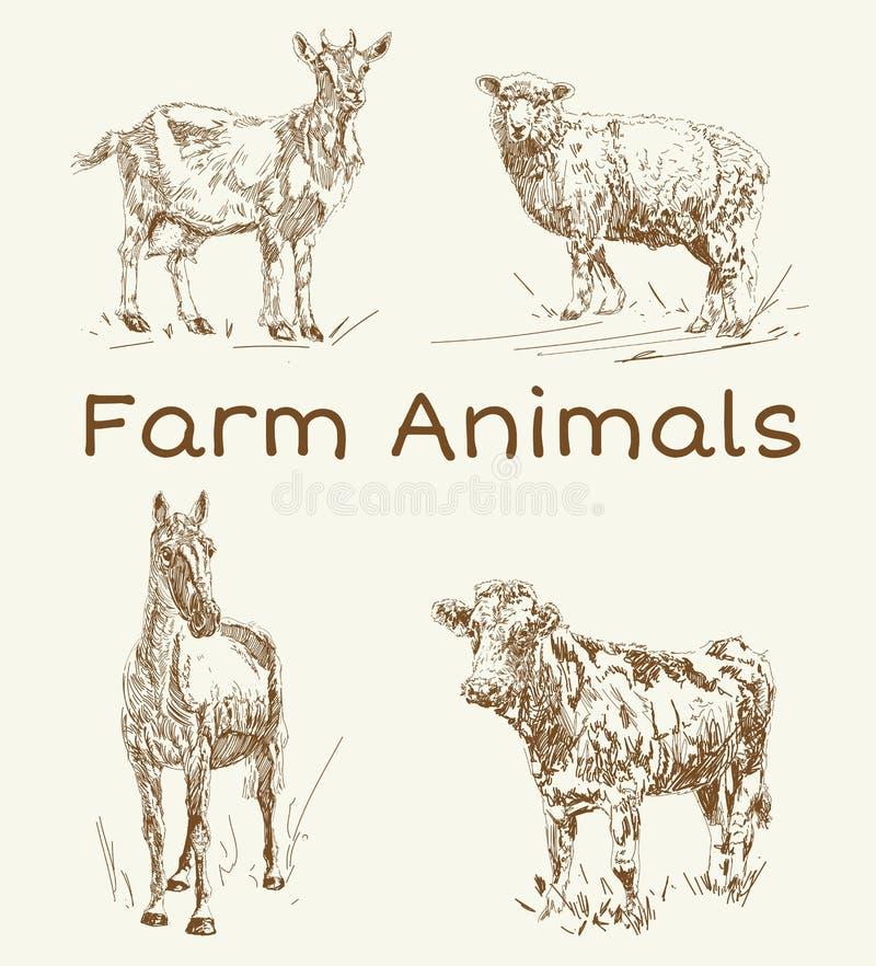 Krabbeldieren De uitstekende reeks van landbouwbedrijfdieren, vector Tekeningen voor tekstillustratie, decoupage, ontwerpdekking, stock illustratie