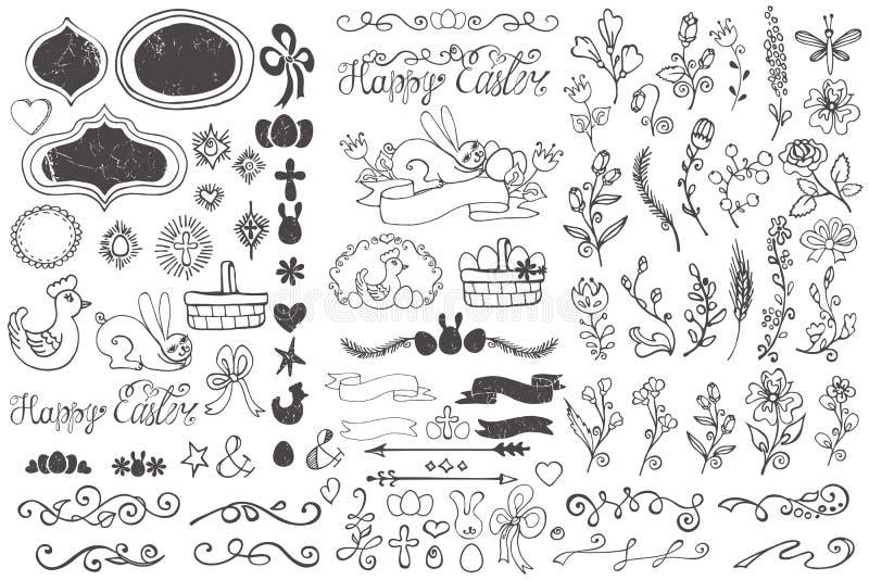 Krabbelgrenzen, ei, linten, bloemendecorelement stock illustratie