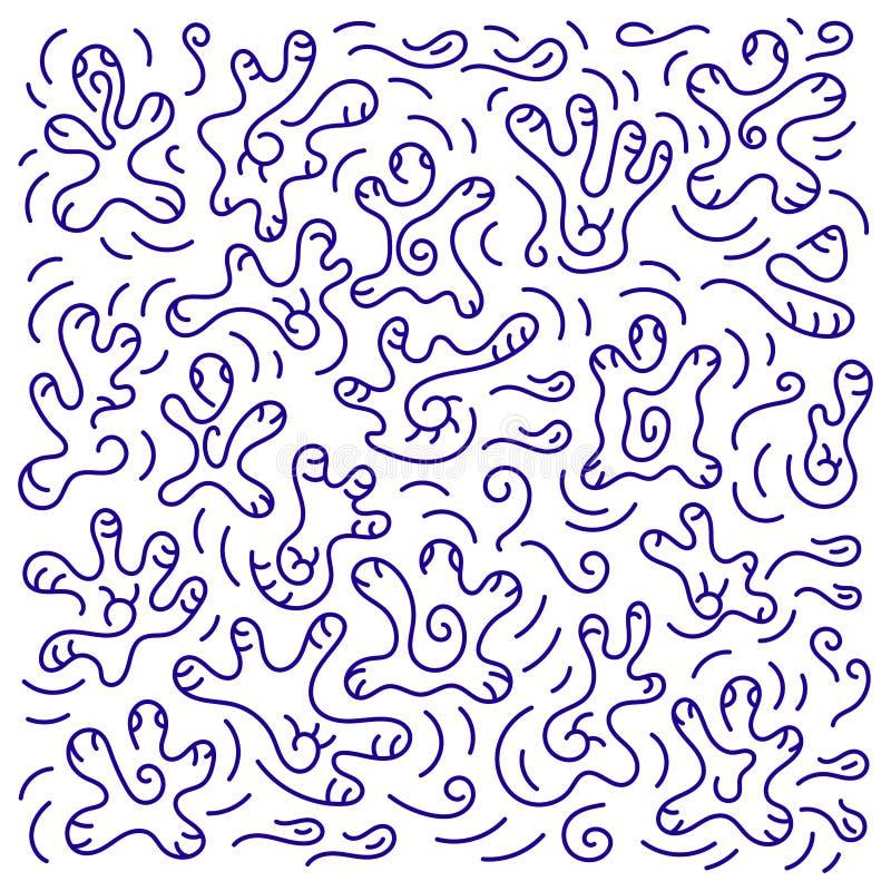 Krabbelhand getrokken achtergrond Onderwater wereld vector illustratie