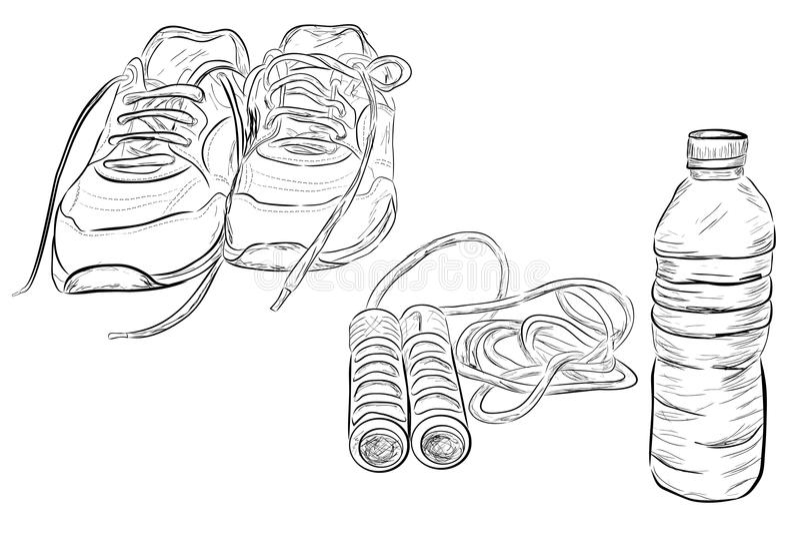 Krabbelillustratie van Gezonde Levensstijl, Sportschoenen, het Springen/Touwtjespringen en Transparante Mineraalwaterfles royalty-vrije illustratie