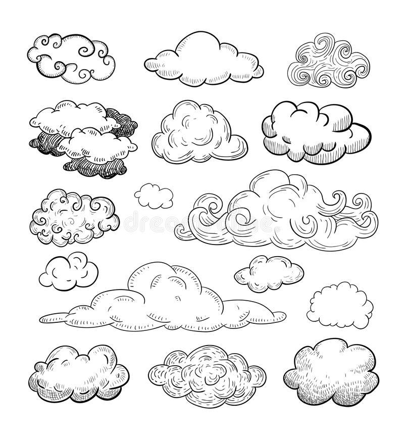 Krabbelinzameling van Hand Getrokken Vectorwolken stock illustratie