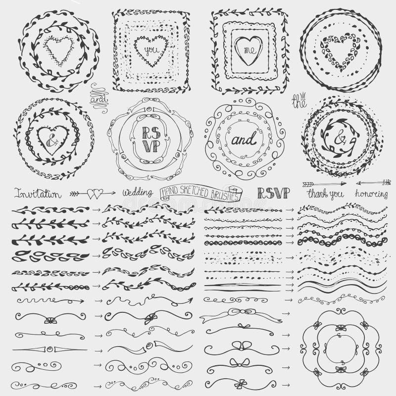 Krabbelkader, borstels, de reeks van het kroondecor zwart vector illustratie