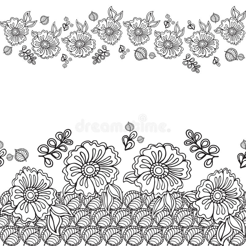 Krabbelkader met bloem in krabbel Getrokken hand Vector patroon vector illustratie