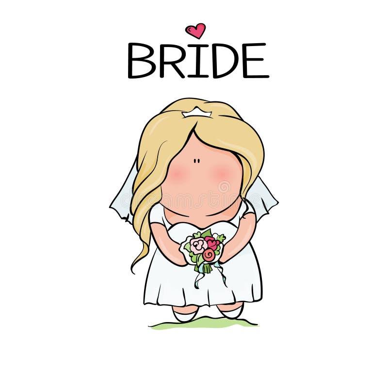 Krabbelkarakter Leuke Bruid Malplaatje voor druk stock illustratie