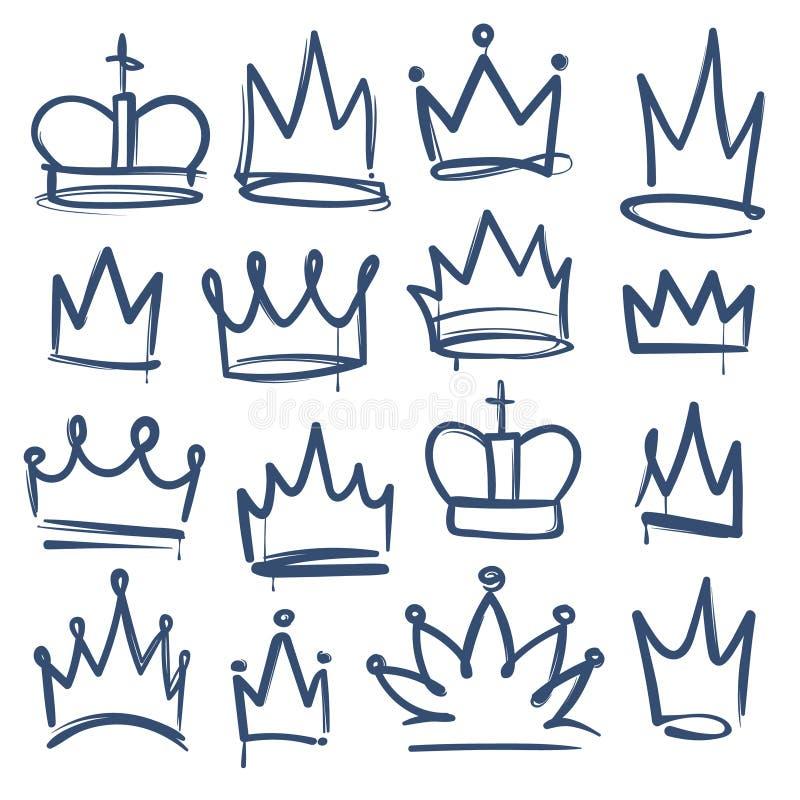 Krabbelkroon De koninkrijkstiara's bekroont van de de coronaprinses van de koningskoningin de krabbel van de het diadeemschets ge stock illustratie