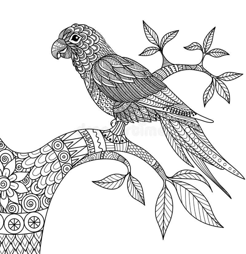 Krabbelontwerp van papegaai op tak voor volwassen kleurend boek vector illustratie