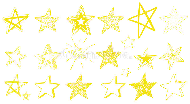 Krabbelontwerp voor gele sterren vector illustratie