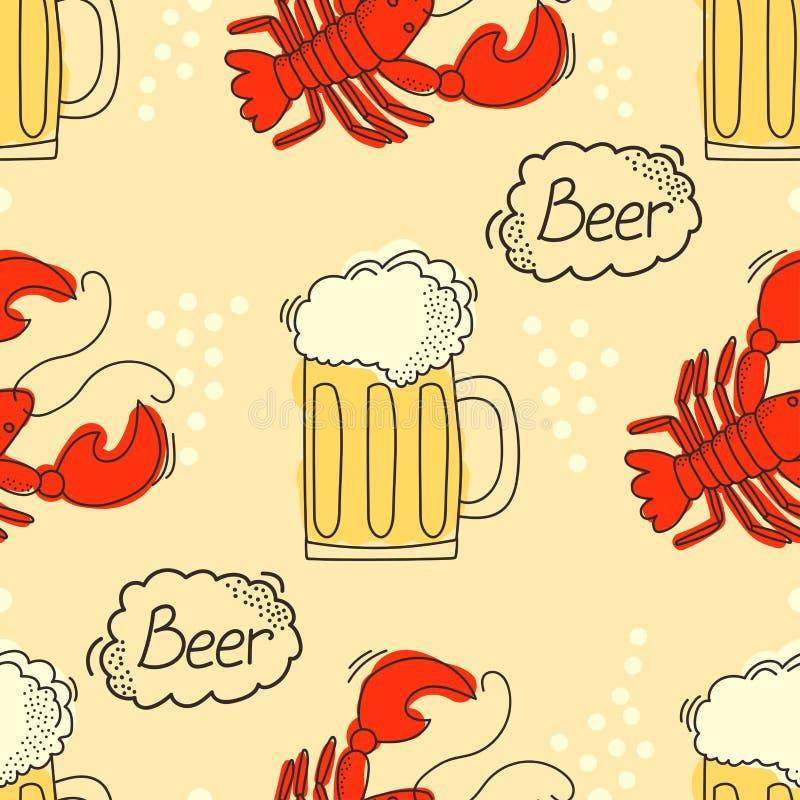 Krabbelpatroon met bier en rivierkreeften stock illustratie