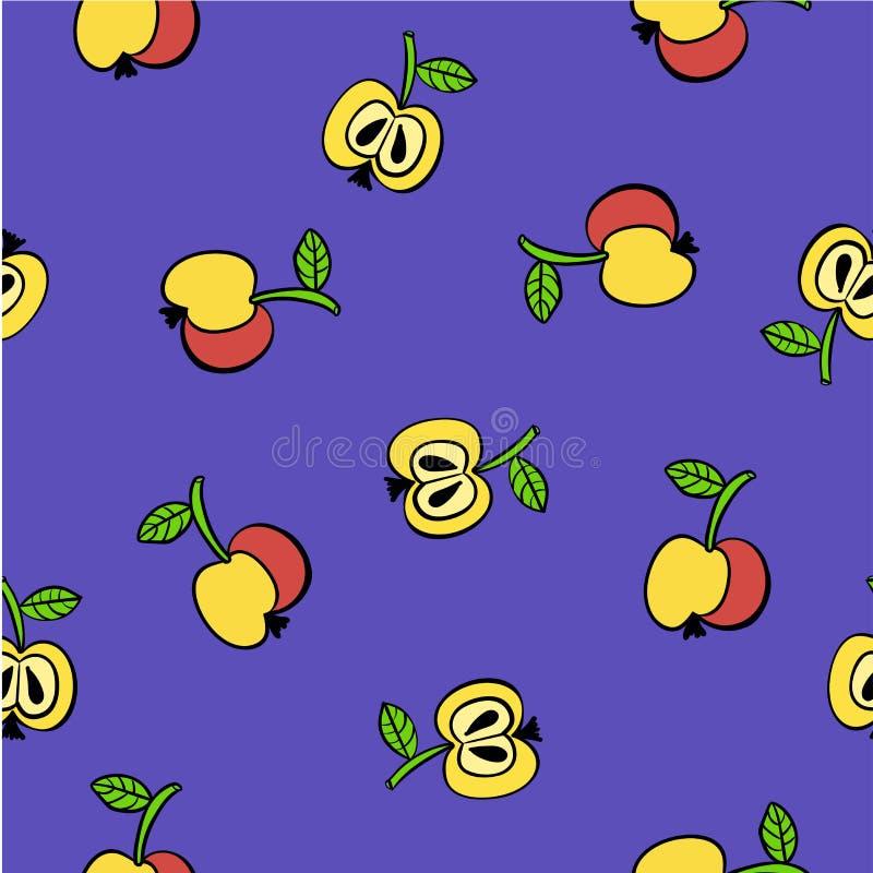 Krabbelpatroon van gele en rode appelenillustratie vector illustratie