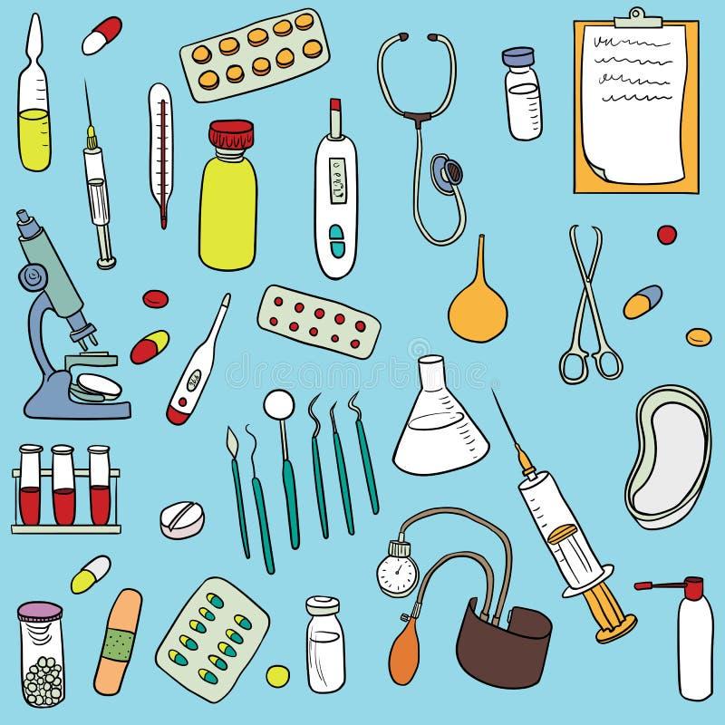 Krabbelreeks van medische apparatuur vector illustratie