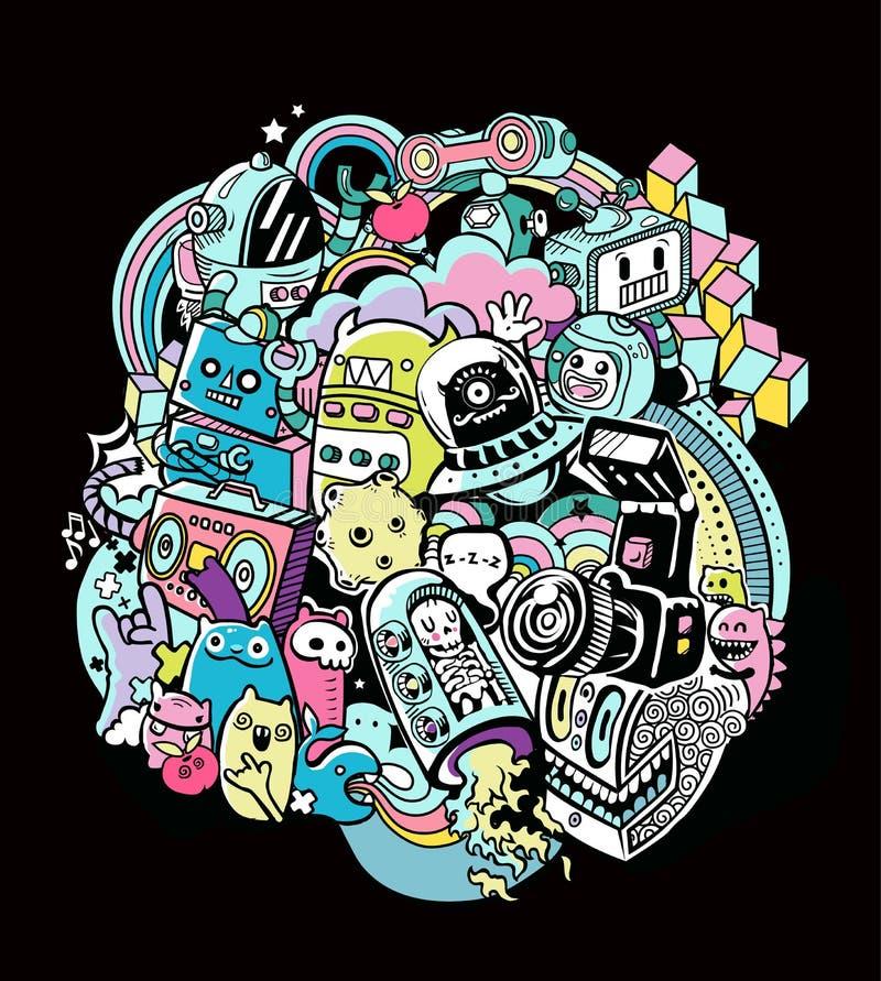 Krabbelrobots, het element van de krabbelrobot, royalty-vrije illustratie