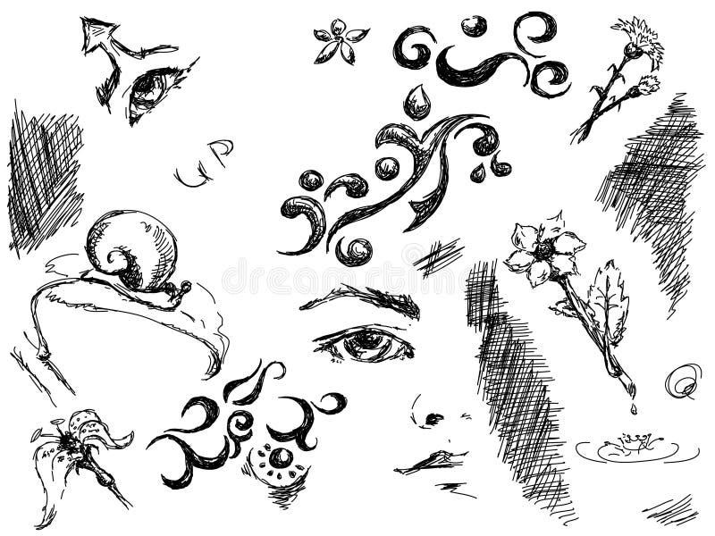 Krabbels vector illustratie