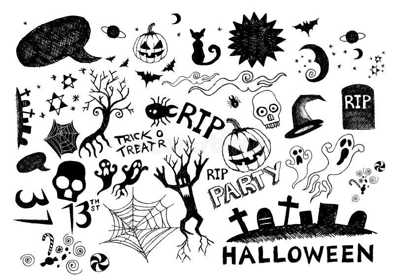 Krabbels - de Partij van Halloween stock illustratie