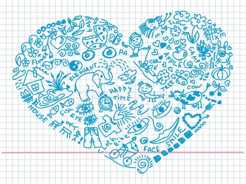 Krabbels in hartvorm royalty-vrije illustratie