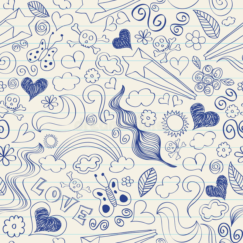 Krabbels op een notitieboekje stock illustratie