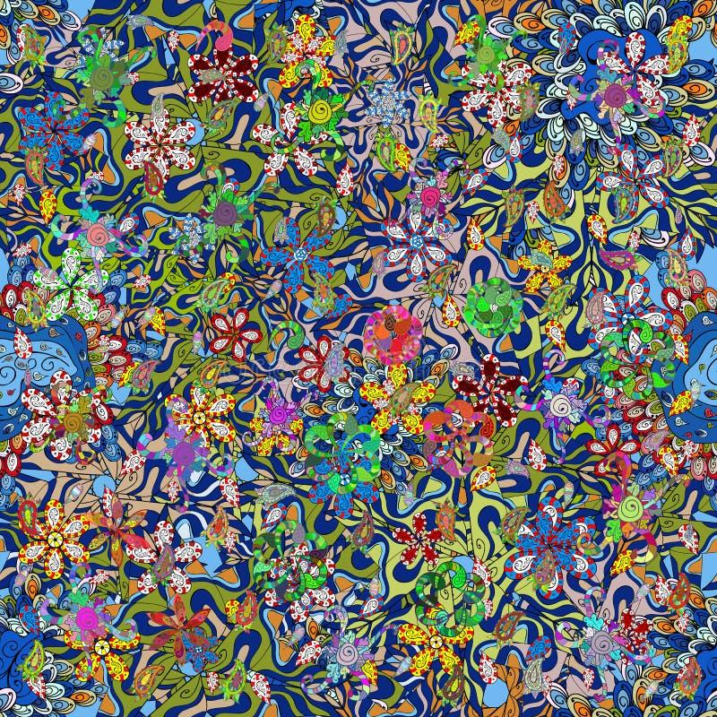 Krabbels op neutrale, blauwe en groene kleuren vector illustratie