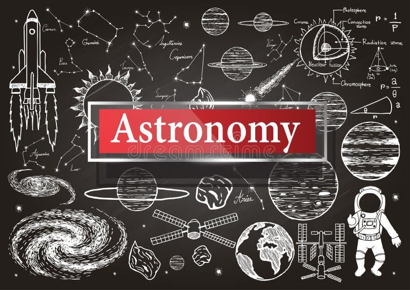 Krabbels over astronomie op bord met transparant kader met de woordastronomie vector illustratie