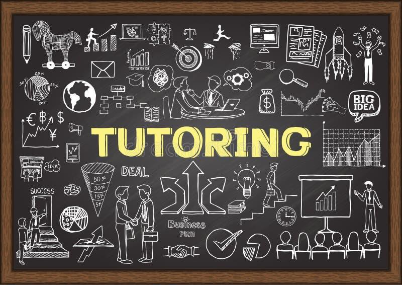 Krabbels over tutoring op bord vector illustratie