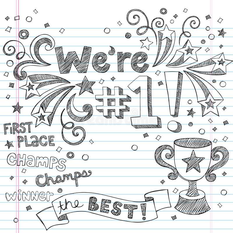 Krabbels van het Notitieboekje van de Kampioen van de Trofee van sporten de Schetsmatige royalty-vrije illustratie