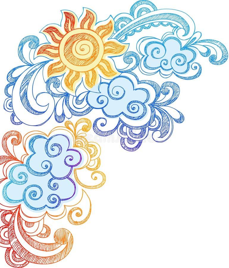 Krabbels van het Notitieboekje van de Zon en van de Hemel van de zomer de Schetsmatige royalty-vrije illustratie