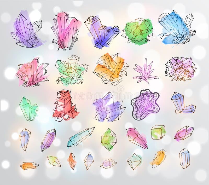 Krabbelschets gekleurde kristallen Inzameling van mineralen royalty-vrije illustratie