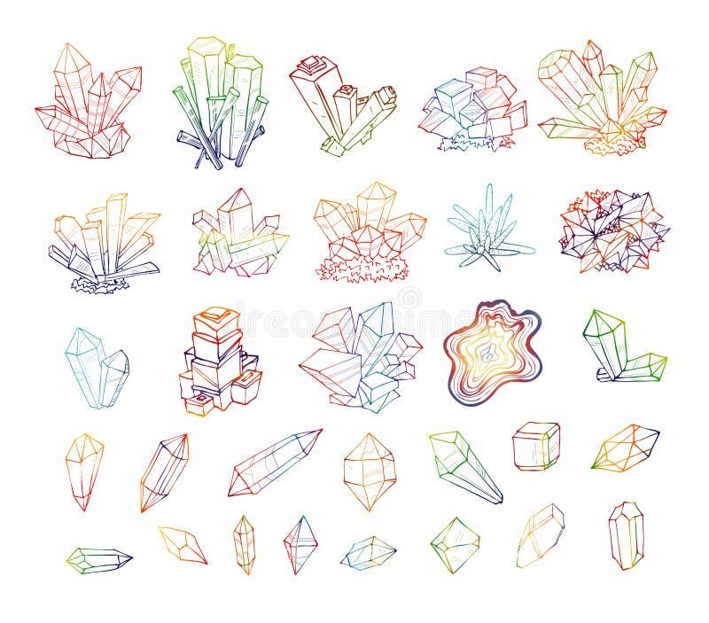 Krabbelschets gekleurde kristallen Inzameling van mineralen vector illustratie