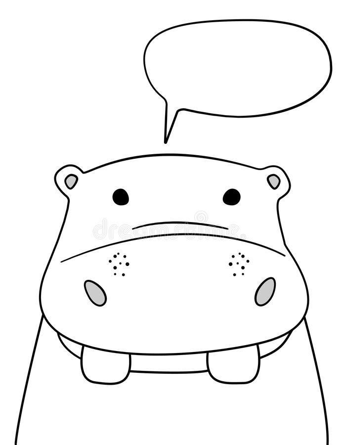 Krabbelschets Hippo met de illustratie van de praatjewolk Beeldverhaal vectornijlpaard met sprekende bel Wild zoogdierdier prentb vector illustratie