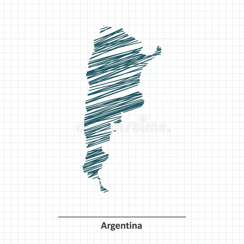 Krabbelschets van de kaart van Argentinië vector illustratie