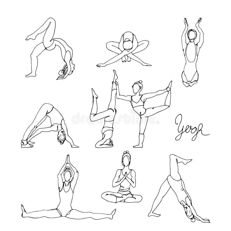 Krabbelschetsen van yogaoefeningen stock illustratie