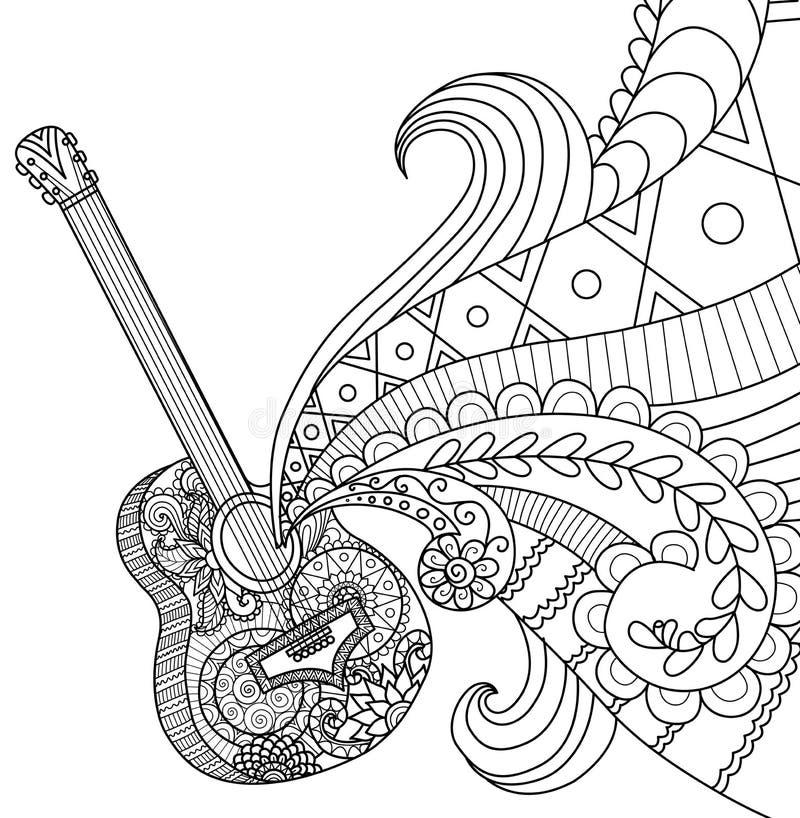 Krabbelsontwerp van gitaar voor het kleuren van boek voor volwassene stock illustratie