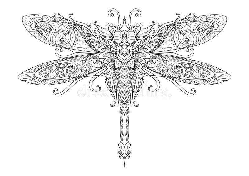 Krabbelsontwerp van libel voor tatoegering, ontwerpelement, pagina's van het T-shirt de grafische en volwassen kleurende boek - V royalty-vrije illustratie