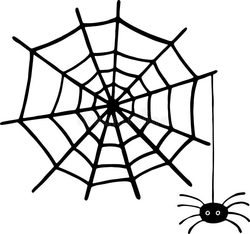 Krabbelspin en Web - igraphic element voor Halloween Vector i royalty-vrije illustratie