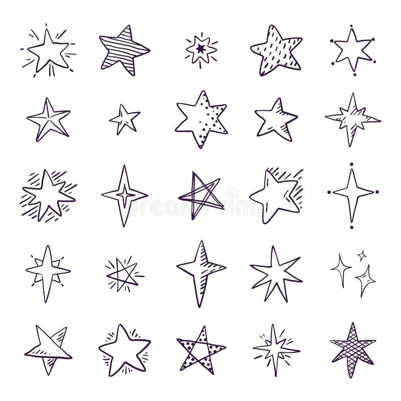 Krabbelsterren De leuke ruimteelementen van de penschets, eenvoudige geometrische reeks, hand getrokken sterpatroon voor druktext stock illustratie