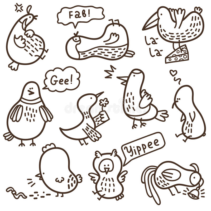 Krabbelvogels. royalty-vrije illustratie