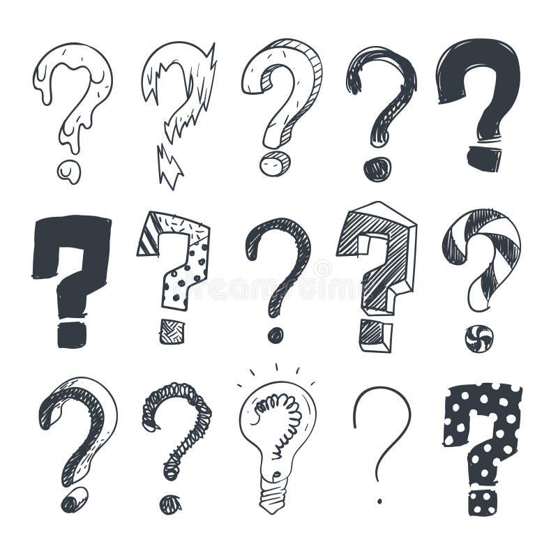 Krabbelvraagtekens Hand getrokken de symbolen vectorreeks van de ondervragingsvraag royalty-vrije illustratie