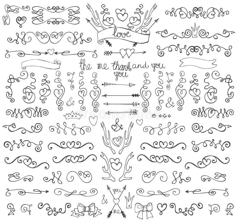 Krabbelwervelingen, pijlen, grenzen, decorelement Liefde vector illustratie