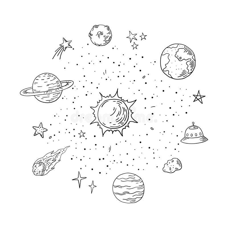 Krabbelzonnestelsel In handdrawn ruimte, de elementen van de de komeetastronomie van de planeetmeteoor Vector lineart royalty-vrije illustratie