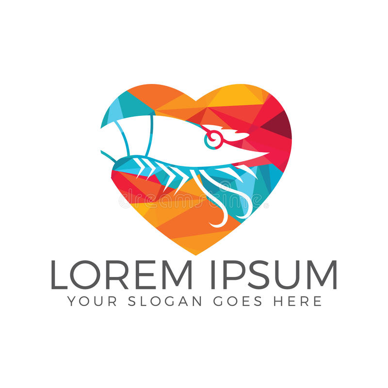 Krabben-Herzform-Logodesign lizenzfreie abbildung