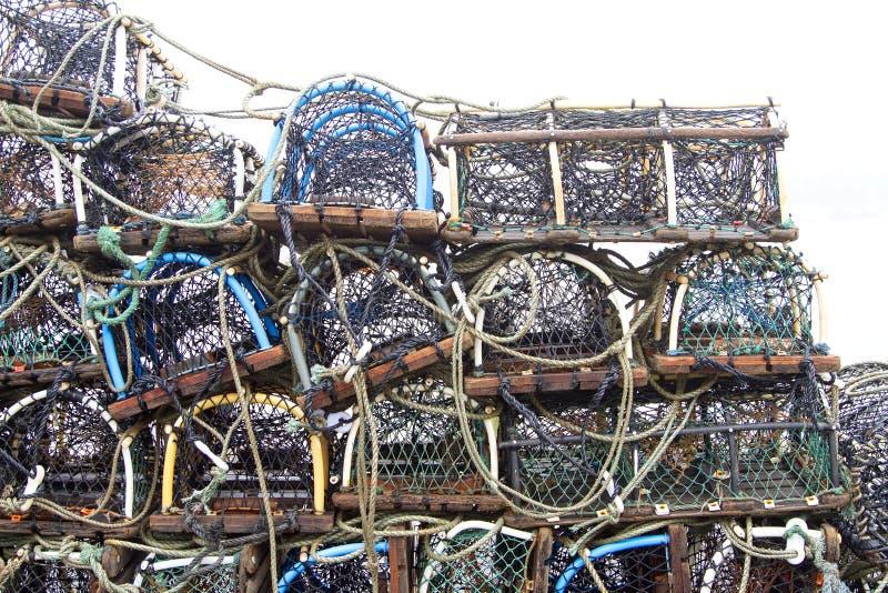 Krabben- oder Hummertöpfe lizenzfreie stockbilder