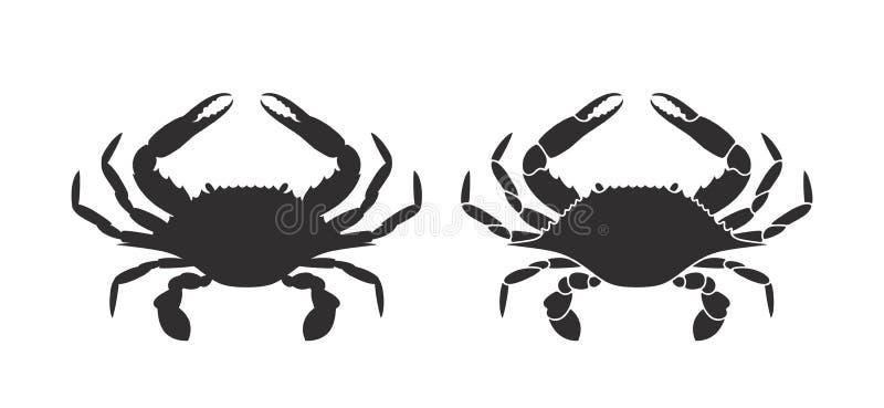 Krabbenschattenbild zeichen Getrennte Befestigungsklammer auf weißem Hintergrund vektor abbildung