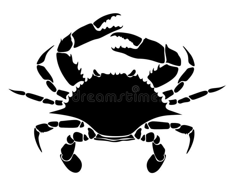 Krabbenschwarzes auf einem weißen Hintergrund vektor abbildung