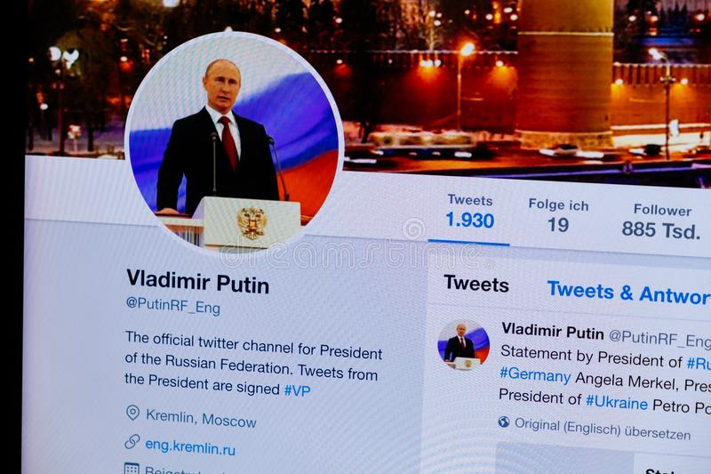 KRABI, THAILAND - APRIL 04, 2018: Closeup of official VLADIMIR PUTIN Twitter Profile and Picture stock photography