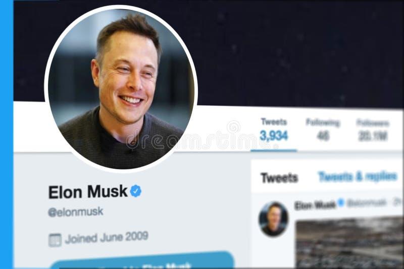 KRABI, THAILAND - 8. MÄRZ 2018: Nahaufnahme von Elon Musk Twitter Profile und von Bild lizenzfreie stockbilder