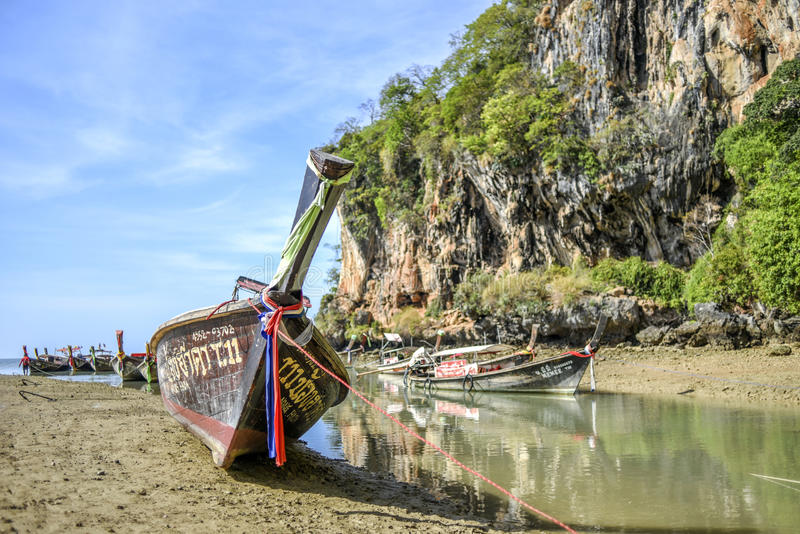 Krabi, Thailand, March 13, 2016: Long tail boat standing on the stock photo