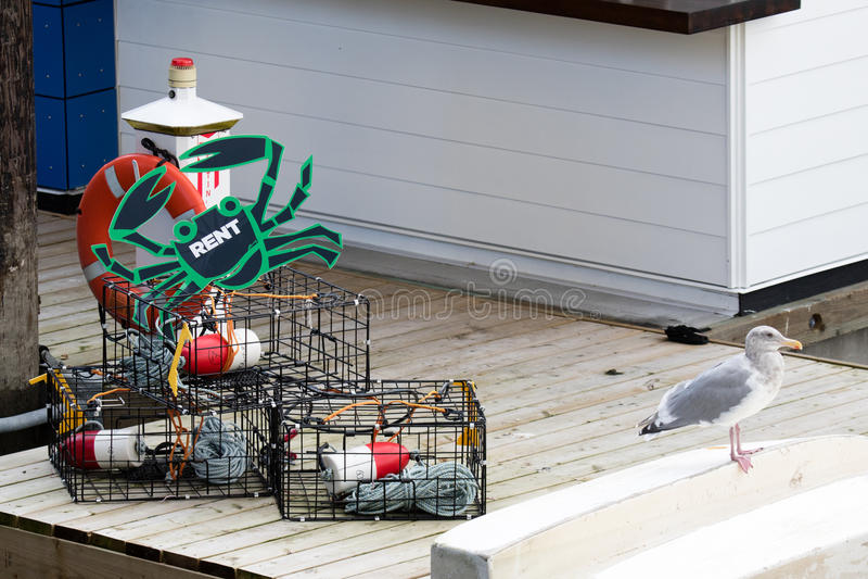 Krabvallen met al toestel nodig voor succesvolle krab die voor huur vissen royalty-vrije stock afbeelding