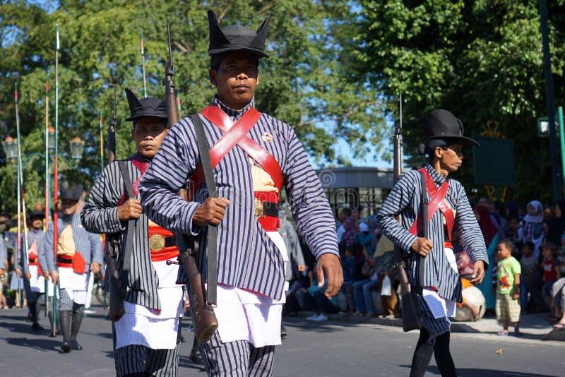 Krachten van de Yogyakarta` s de koninklijke wacht stock afbeeldingen