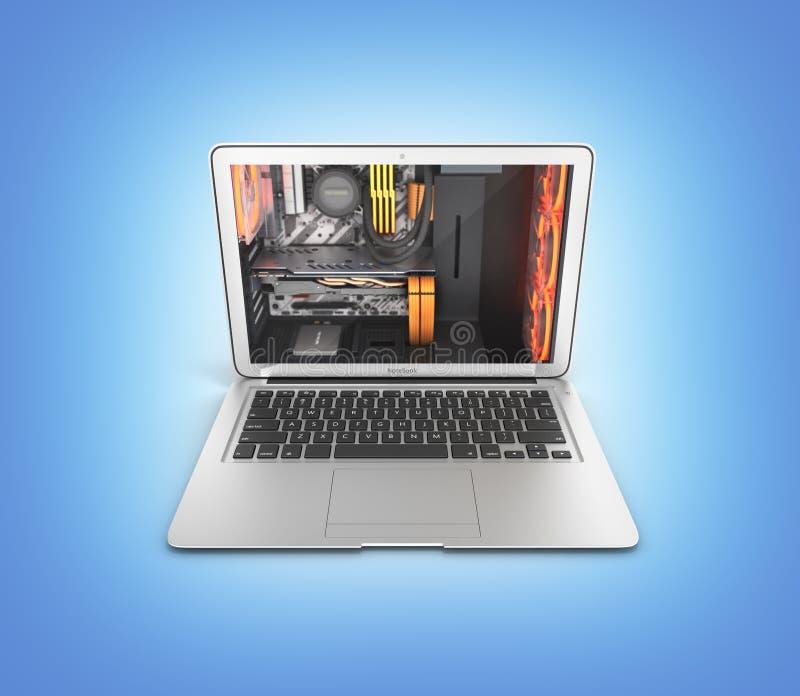 Krachtige laptop van het notitieboekjeconcept met krachtige die computercomponenten op blauwe gradiënt 3d illustratie worden geïs vector illustratie