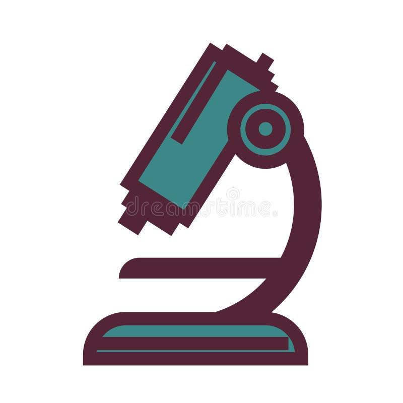 Krachtige microscoop voor biologische en chemische onderzoekillustratie vector illustratie
